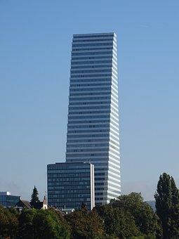 Skyscraper, Roche-tower, Basel, Blue Sky, Green, Trees