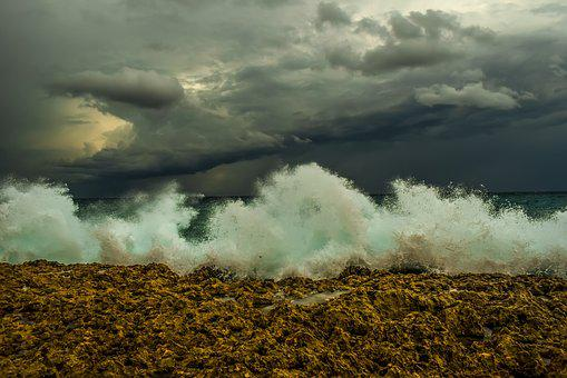 Wave, Crashing, Rocky Coast, Nature, Sky, Clouds, Spray