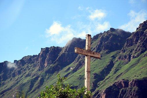 Mountains, Cruz, Landscape, Summit, Sky, Spiritual, God