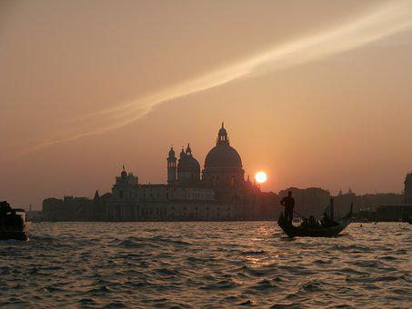 Venice, Sunset, Gondola, Italy, Channel, Romantic