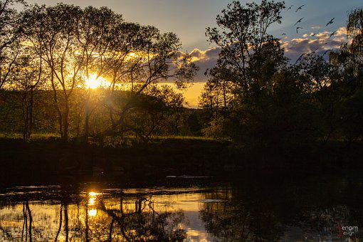 Sunset, Water, Sky, Nature, Landscape, Dusk, Evening