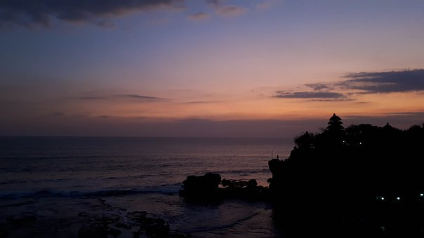 Tanah Lot, Indonesia, Sunset, Hindu, Water, Sea, Island