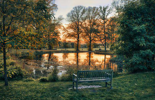 Lake, Sunset, Bank, Sky, Water, Landscape, Nature, Rest