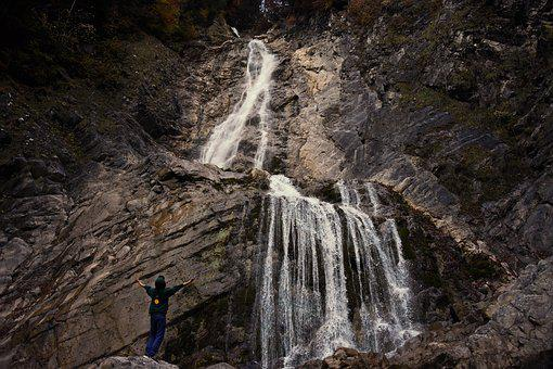 Waterfall, Water, Mountain, Rock, Nature