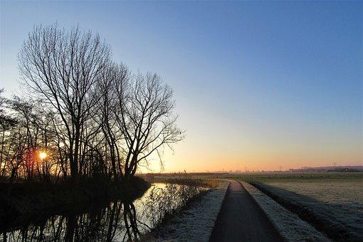 Winter, Sunrise, Cold, Landscape, Freezing, Trees