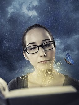 Fantasy, Books, Woman, Library, Magic, Study, Stars