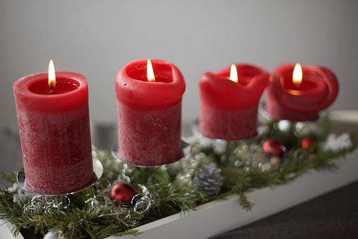 Advent, Candles, Christmas, Green, Red, Wreath