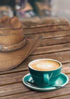 Coffee, Cafe, Late, Milk, Cowboy, Western, Hat