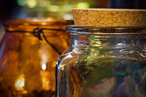 Glass Jars, Containers, Lights, Colors, Glass, Cork