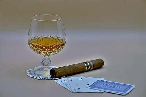 Cigar, Cognac, Glass, Poker, Aces, Playing Cards