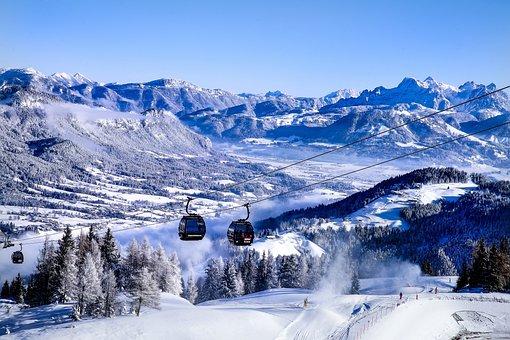 Austria, Tyrol, Ellmau, Mountains, Snow, Gondola