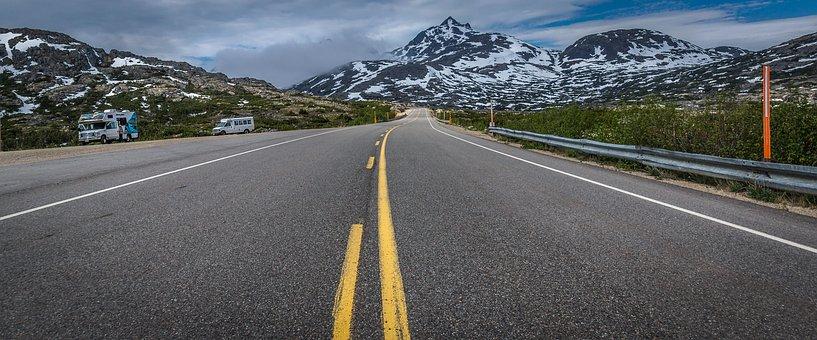 Highway, Road, Canada, Mountains, Road Sign, Asphalt