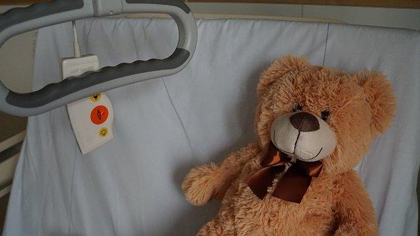Hospital, Teddy, Ill, Bed, Mitbringsel, Pep Talk