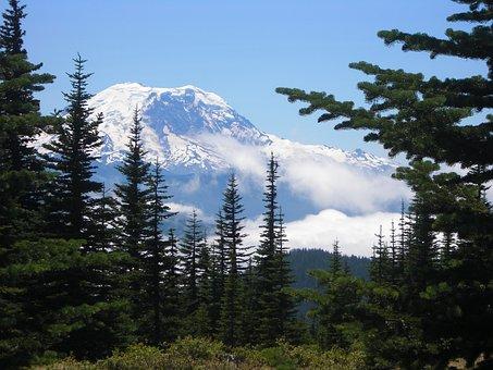 Mount Rainier, Mountain, Rainier, Washington, Landscape