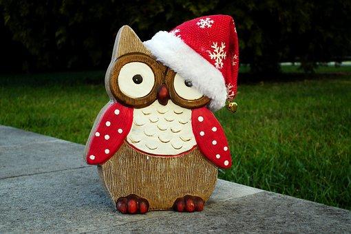 Sowa, Mikołajki, Christmas, Ornament, December