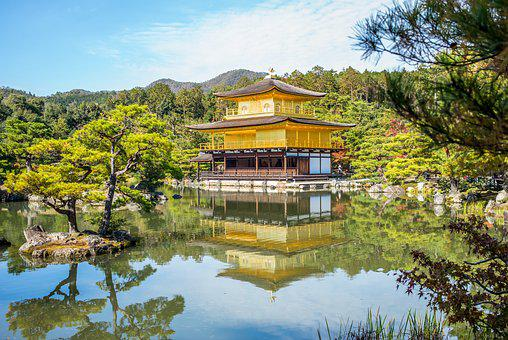 Gold Temple, Temple, Pagoda, Gold, Trees, Lake