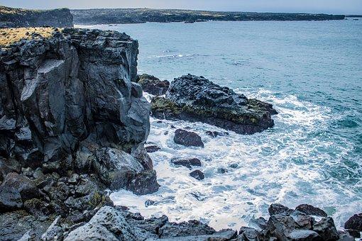 Iceland, Hellissandur, Coast, Bank, Surf, Rock, Cold