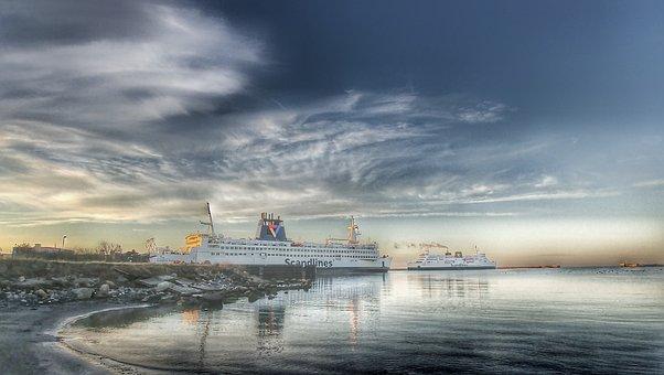 Scandlines, Ferry, Puttgarden, Port, Reflect, Clouds