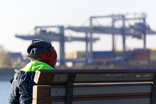 Boy, Small Child, Child, Sit, Bank, Watch, Look, Port