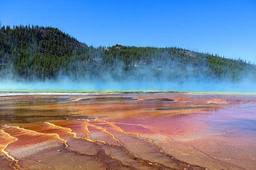 Blue Steam Over Grand Prismatic, Spring, Yellowstone
