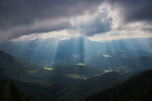 Sunbeam, Valley, Landscape, Sunlight, Mountains, Nature