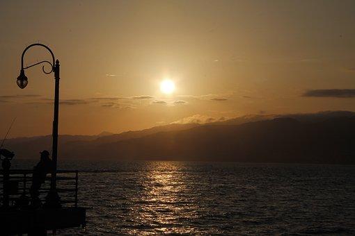 Sunset, Sea, Ocean, Sky, Water, Clouds, Twilight