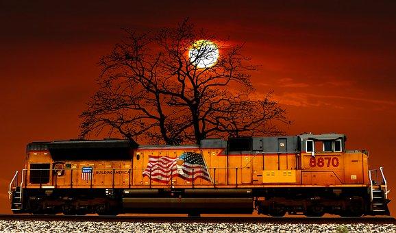 Sunset, Train American, Tree, Soiree, Sky, Twilight