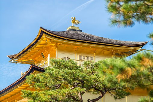 Roof, Gold, Temple, Pagoda, Tree, Sky, Blue, Old