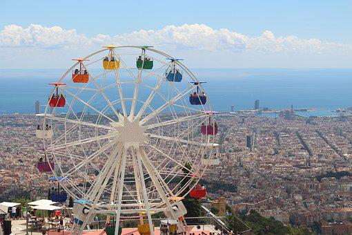 Tibidabo, Views, Landscape, Noria, Barcelona, Spain