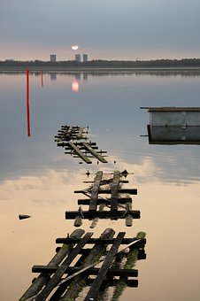 Sunrise, Harbor, Water, Reflections, Dock