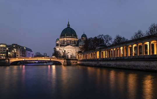 Berliner Dom, Water, River, Reflections