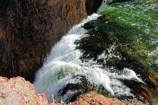 On The Brink, Waterfall, Canyon, Yellowstone, National