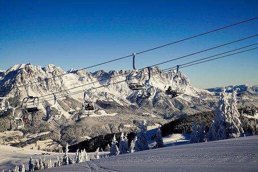 Austria, Tyrol, Scheffau, Winter, Snow, Lift, Mountains