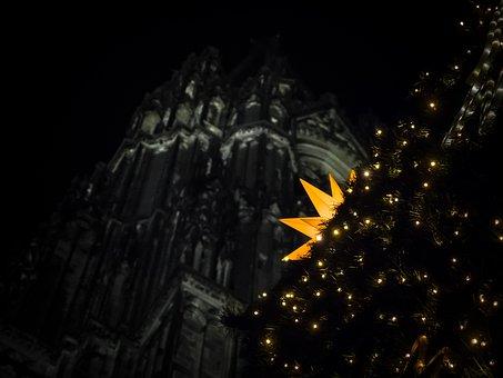 Star, Christmas Market, Church, Lights, Advent