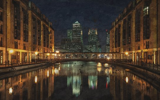 City, Water, Reflection, Architecture, Night, Lights