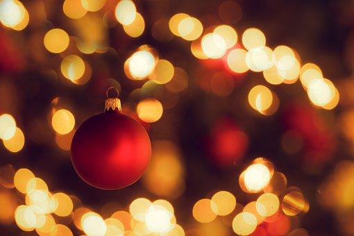 Christmas Tree, Christmas Bauble, Christmas, Bokeh, Red