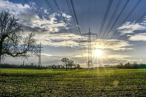 Power Line, Catenary, Sun, Backlighting, Dazzling Star