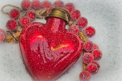 Heart, Red, Snow, Christmas, Christmas Card, Love