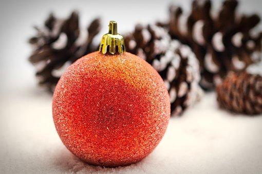 Christmas Bauble, Snow, Pine Cones, Ball, Christmas