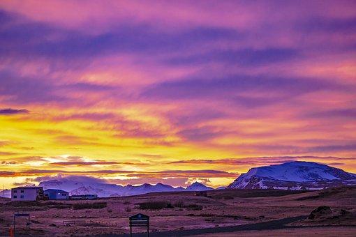 Iceland, Hellissandur, Sunrise, Dawn, Morgenrot