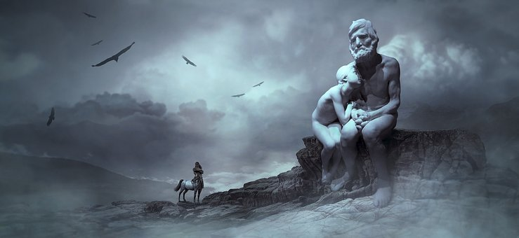 Fantasy, Sculpture, Man, Old, Girl, Young, Centaur