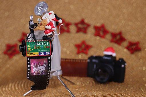 Mouse, Teddy, Christmas Congratulations, Analog, Film
