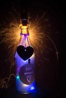Fire, Star, Bottle, Background, December, Christmas