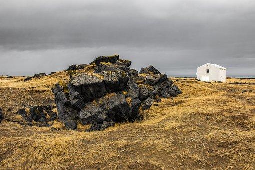 Hellissandur, Iceland, Winter, Landscape, Grey, Stones