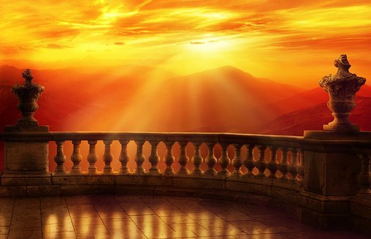 Sunset, Mountains, Landscape, Balcony, Antique