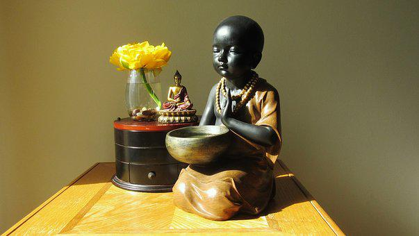 Baby Monk, Meditation, Home, Buddhism