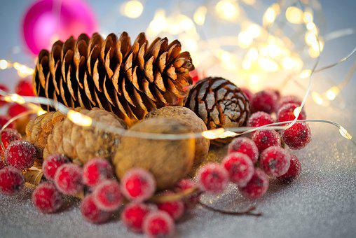 Christmas Bauble, Pine Cones, Walnut, Nut, Ball