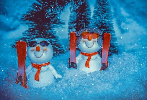 Snowman, Ski, Skiing, Snow, Snowfall, Winter, Fun, Cold