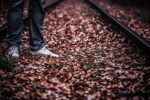 Tracks, Man, Character Feet, Foliage, Rails, Stand