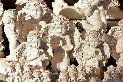 Cherubs, Christmas, Statues, Decoration, Angel, Ceramic